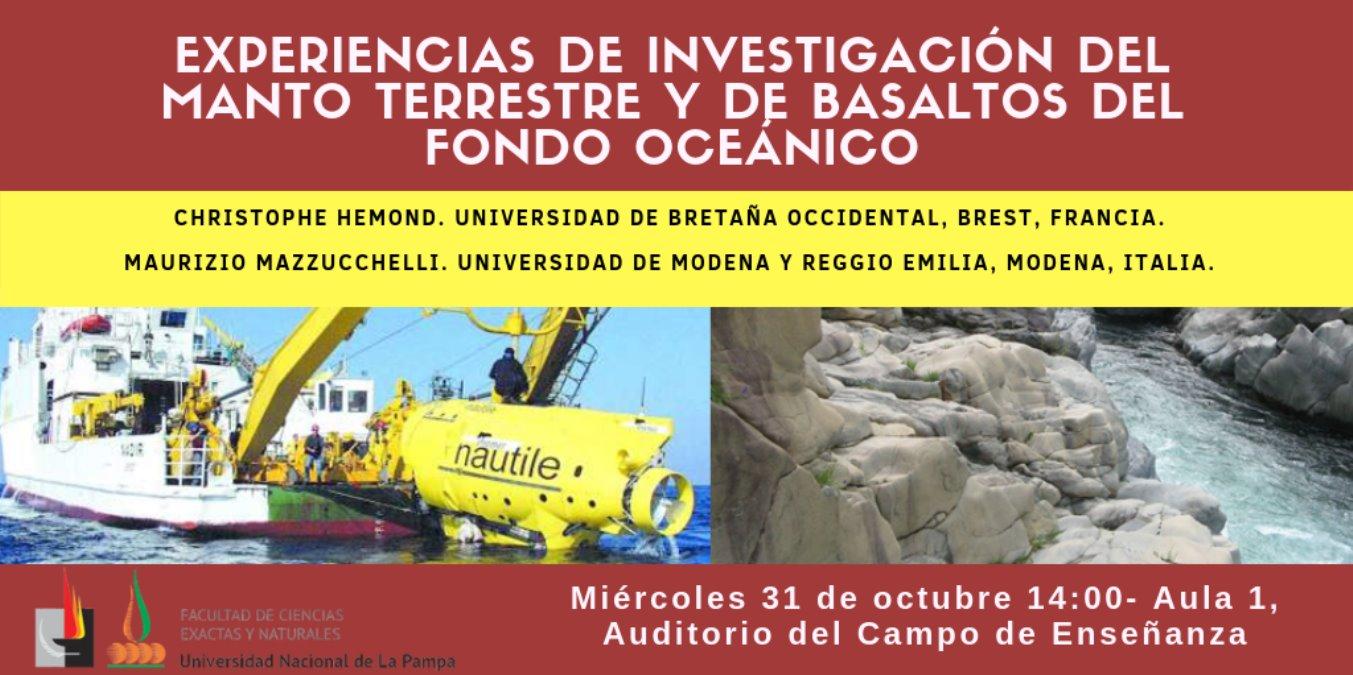 charla Experiencias de investigación del manto terrestre y de basaltos del fondo oceánico